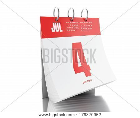 3D Day Calendar With Date July 4, 2017