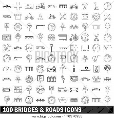 100 bridges and roads icons set in outline style for any design vector illustration