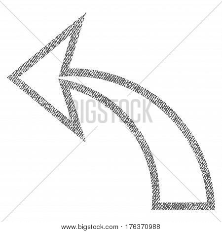 Undo vector textured icon for overlay watermark stamps. Fabric gray vectorized texture. Symbol with dust design. Rubber seal stamp with fiber textile structure.