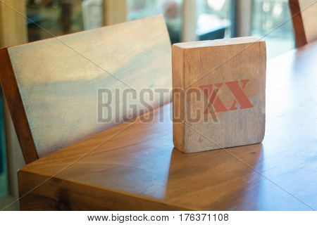 Wooden Tablet At Coffee Shop stock photo