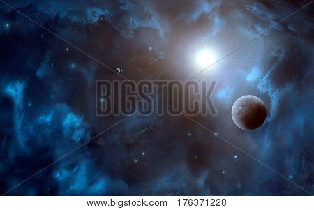 Space scene. Blue nebula with planet and sun. Elements furnished to NASA