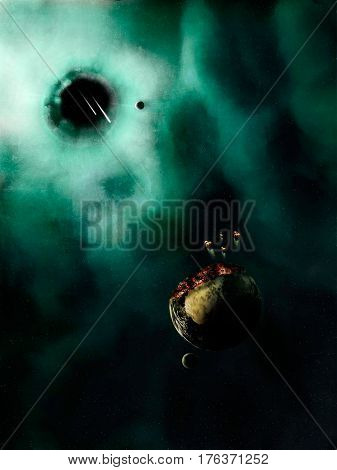 Space scene. Green nebula with destroyed planet and black hole. Elements furnished to NASA