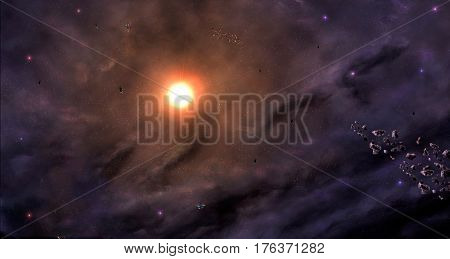 Space scene. Violet nebula with asteroids and sun. Elements furnished to NASA