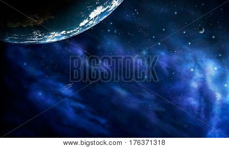 Space scene. Blue nebula with one big planet. Elements furnished to NASA