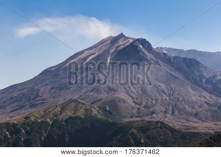 Mount St. Helens Under Blue Sky