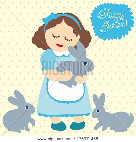 Girl and rabbits. Happy Easter. Greeting card. Color vector illustration