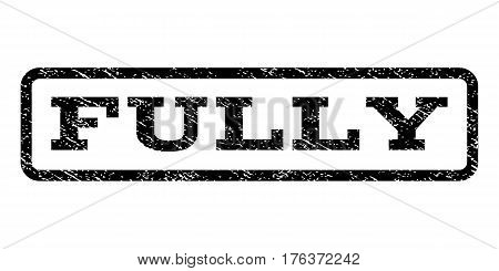 Fully watermark stamp. Text caption inside rounded rectangle frame with grunge design style. Rubber seal stamp with dust texture. Vector black ink imprint on a white background.