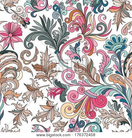 Decorative hand drawn doodle nature ornamental curl vector sketchy seamless pattern. Brown curl and leaves with blue pink flowers. Black outline.
