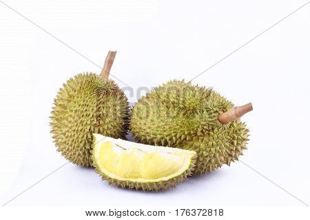 durian  mon thong is king of fruits durian on white background fresh healthy durian fruit food isolated