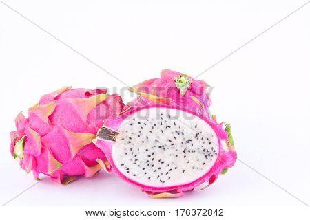 dragon fruit (dragonfruit) or pitaya on white background healthy dragonfruit organic  food isolated