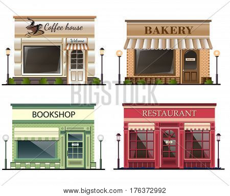 Shops and stores icons set in flat design style. bookshop, coffee shop, bakery, restaurant. Vector illustration