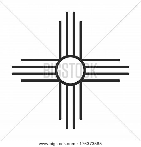 Native American Sun Symbol Vector Icon