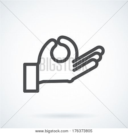 Black flat simple icon style line art. Outline symbol with stylized image of a gesture hand of a human meditation, relax. Stroke vector logo mono linear pictogram web graphics. On a gray background.