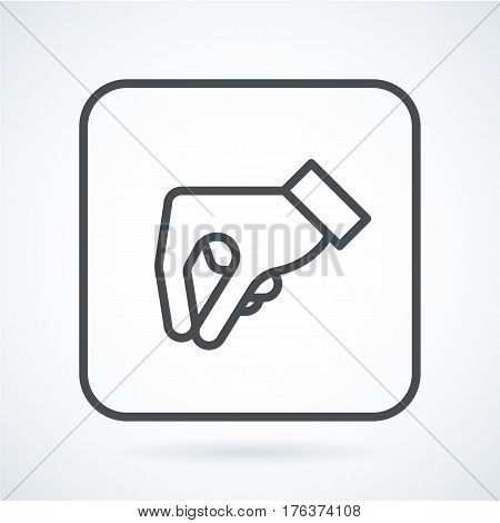 Black flat simple icon style line art. Outline symbol with stylized image of a gesture hand of a human give in a square with rounded corners. Stroke vector logo mono linear pictogram graphics.
