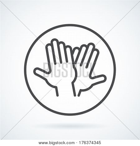 Black flat simple icon style line art. Outline symbol with stylized image of a gesture hand of a human high five, greeting in circumference. Stroke vector logo mono linear pictogram web graphics.