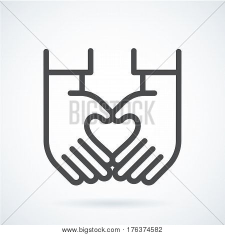 Black flat simple icon style line art. Outline symbol with stylized image of a gesture hand of a human heart. Stroke vector logo mono linear pictogram web graphics. On a gray background.
