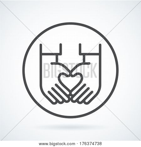 Black flat simple icon style line art. Outline symbol with stylized image of a gesture hand of a human heart in circumference. Stroke vector logo mono linear pictogram graphics. On a gray background.