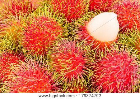 rambutan sweet delicious on  background healthy rambutan tropical fruit food isolated