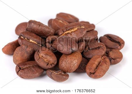 Pile of coffee beans isolated on white background.
