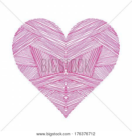 Bright pink heart with abstract pattern on white background hand draw