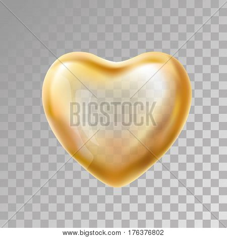 Heart Gold balloon on transparent background. party balloons event design. Balloons isolated in the air. Party decorations wedding, birthday, celebration, love, valentines. Shine transparent balloon