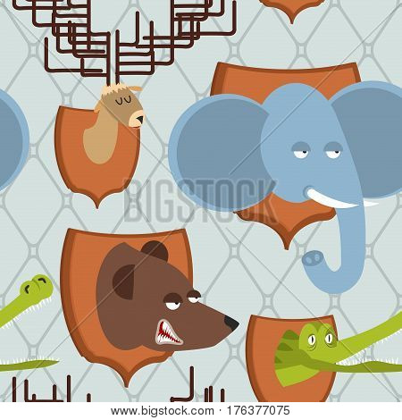 Head Animal Hunter Trophy Seamless Pattern. Elephant And Bear. Moose And Crocodile On Shield. Scarec