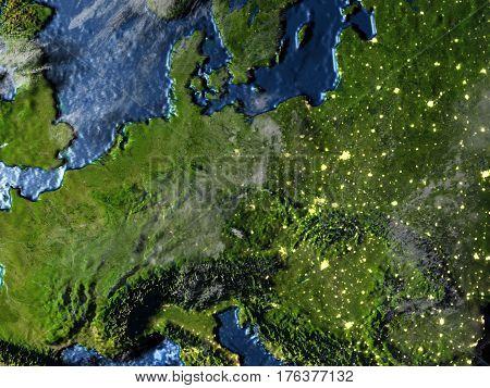 Eastern Europe On Earth At Night - Visible Ocean Floor