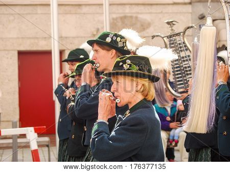 Neuoetting,Germany- September 18,2010:  Member of a bavarian marching band play during a parade
