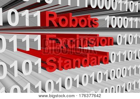 robots exclusion standard in the form of binary code, 3D illustration