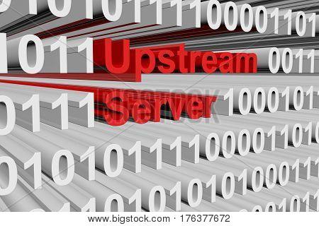 upstream server as binary code 3D illustration