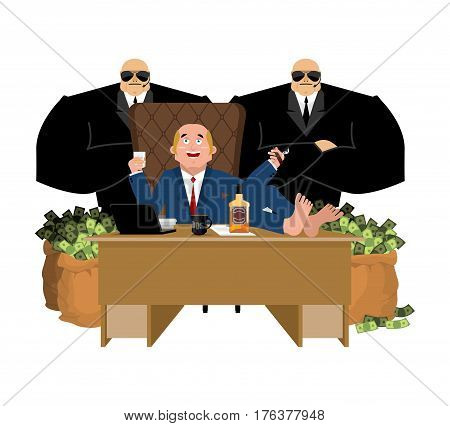 Rich Man Sits At Table And Drinks Whiskey. To Smoke Cigar. Plutocrat And Bag Money. Big Boss And Sec