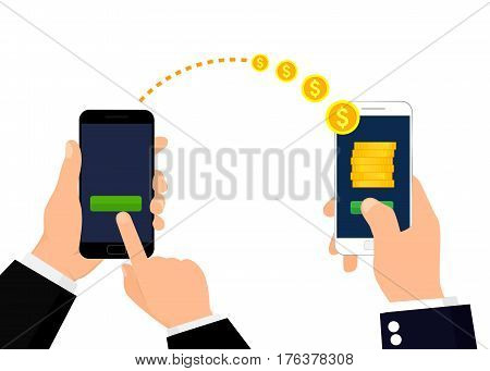 Banking payment app. Sending and receiving money. Vector illustration isolated on white background. Flat design.