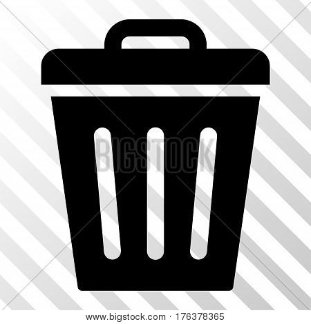 Trash Can vector pictograph. Illustration style is a flat iconic black symbol on a transparent background.