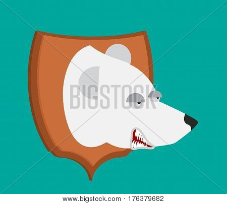 Polar Bear Hunter Trophy. Head Is Northern Predator On Shield. Scarecrow Wild Beast