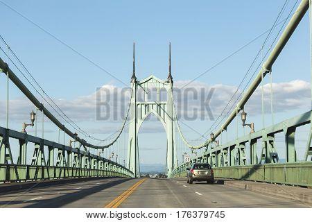 Driving On St. John's Bridge In Portland