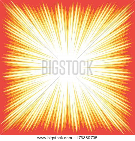 Explosion boom. Superhero frame for comic books. Sun ray or star burst element. Vector illustration radial background for web design banner or print