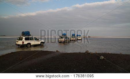 Salt Lake Karum aka Lake Assale or Asale at sunset in Danakil Afar, Ethiopia
