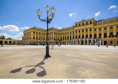 Vienna Austria - October 14 2016: Former imperial summer residence Schonbrunn Palace Vienna Austria October 14 2016