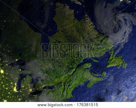 East Coast Of Canada On Realistic Model Of Earth