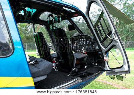 Close up of helicopter interior with door open