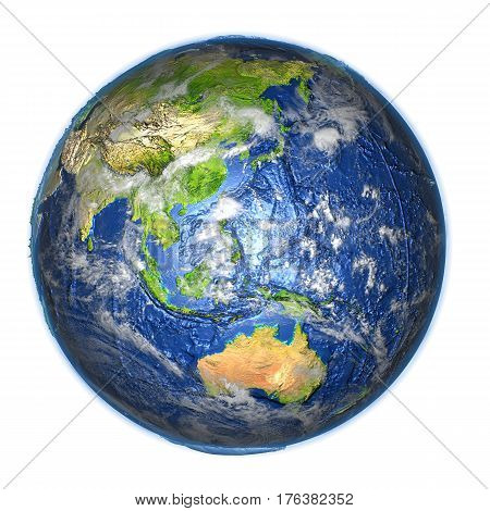 Australasia On Earth Isolated On White
