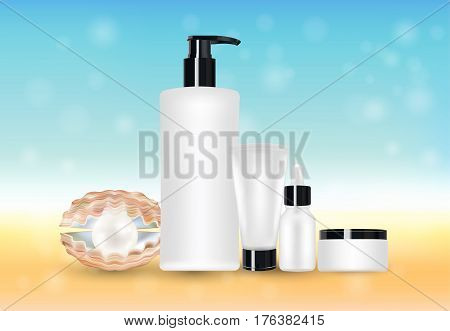 pearl and beauty cosmetic tube with blur sea background