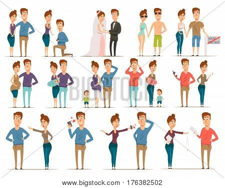 Marriage divorce set of flat married couple characters during rose and candy stage engagement child birth vector illustration
