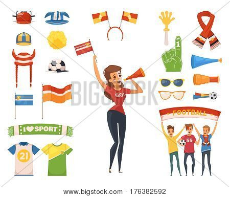Colored and isolated fan rooter buff icon set female character accessories and equipment vector illustration