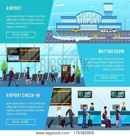Airport banners set with flat airport building lounge hall check-in with text and read more button vector illustration