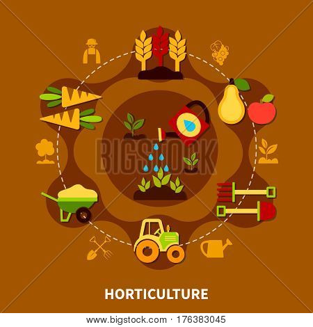 Agriculture round composition of flat farming and gardening equipment agrimotor barrow symbols connected with dashed line vector illustration