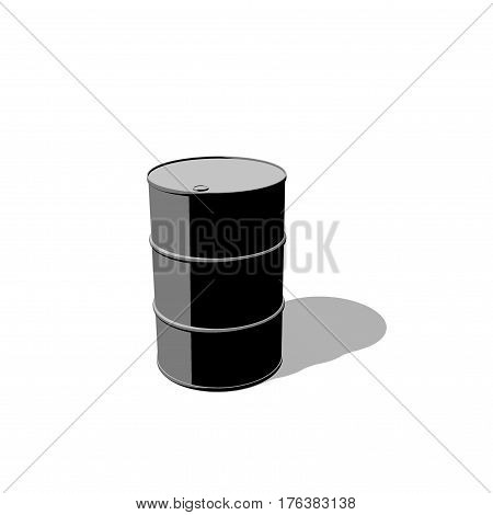 Oil barrel. Isolated on white background. 3D rendering illustration. Cartoon style.