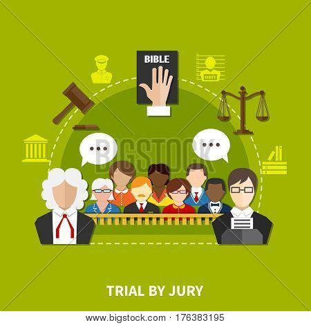 Law flat composition with employees and participants of process and trial by jury vector illustration