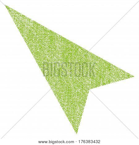 Arrowhead Left-Up vector textured icon for overlay watermark stamps. Fabric light green vectorized texture. Symbol with dirty design. Rubber seal stamp with fiber textile structure.