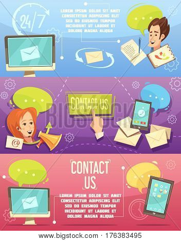 Contact us retro cartoon banners set with customer service 24h email call center isolated vector illustration